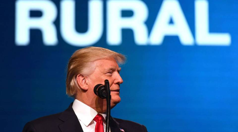President Donald Trump speaks at the American Farm Bureau Federations 99th Annual Convention at Opryland in Nashville, Tennessee, today.