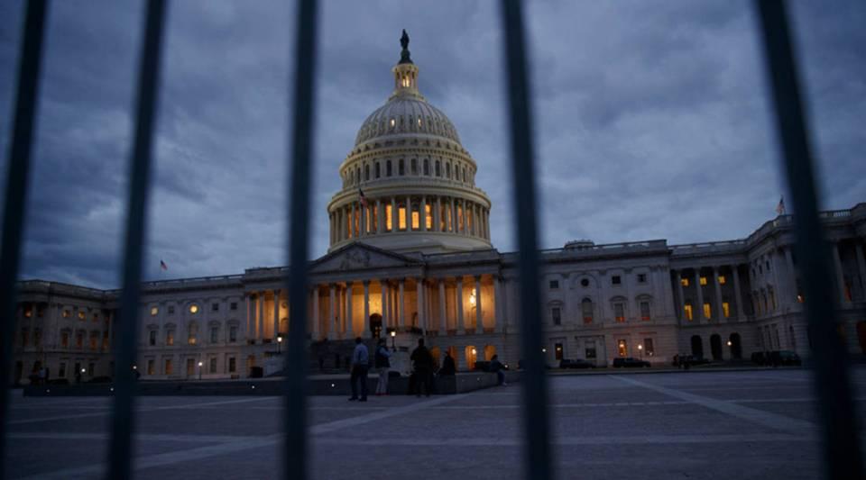 The U.S. Capitol at dusk on Jan. 21 in Washington, D.C.