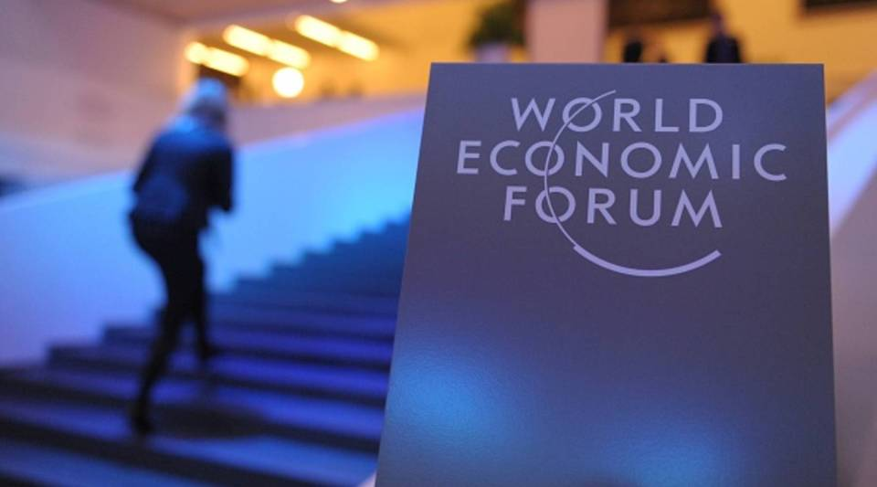 The scene at the opening of the 2014 World Economic Forum in Davos, Switzerland.