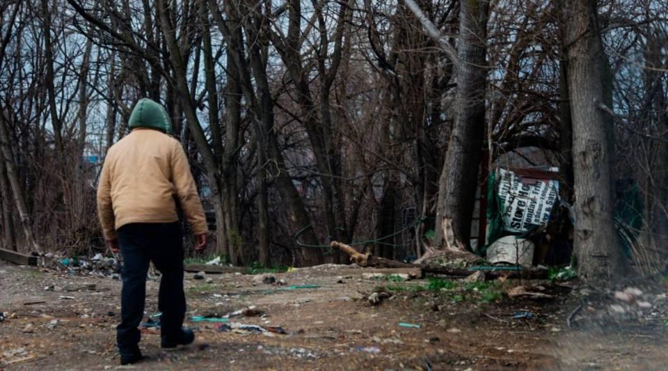 A man walks into a heroin encampment in the Kensington neighborhood of Philadelphia, Pennsylvania.