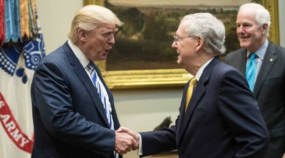 President Trump shakes hands with Senate Majority Leader Mitch McConnell as he meets with Republican congressional leaders in the Roosevelt Room at the White House.