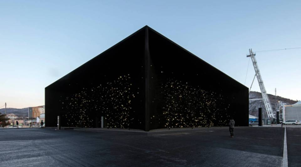 The Hyundai Pavilion at the Pyeongchang Winter Olympics in South Korea, designed by Asif Khan, is coated with Vantablack VBx2.