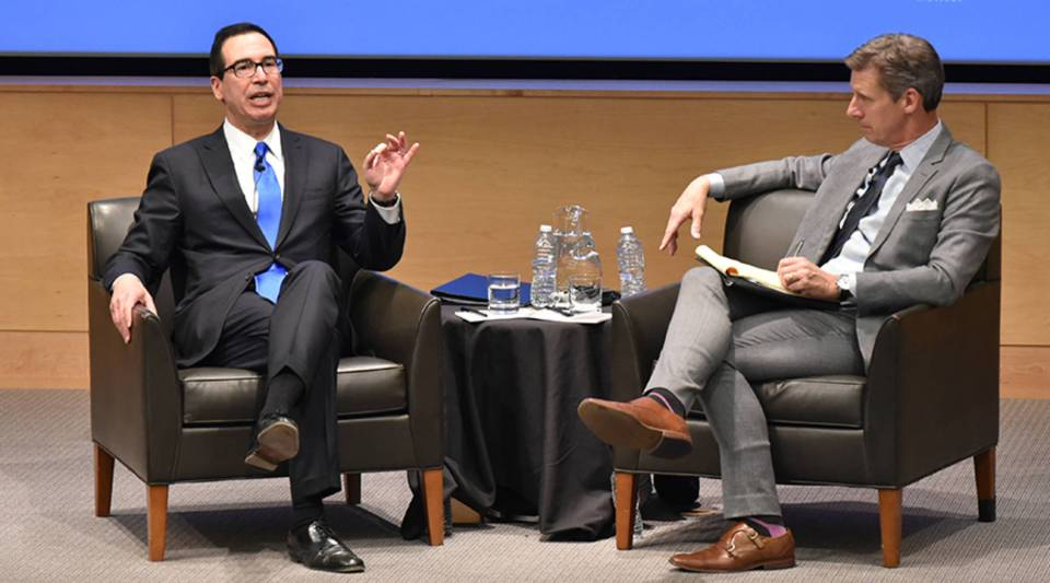 After a short lecture, Treasury Secretary Steven Mnuchin spoke with Marketplace host Kai Ryssdal at the UCLA Burkle Center for International Relations in Los Angeles.
