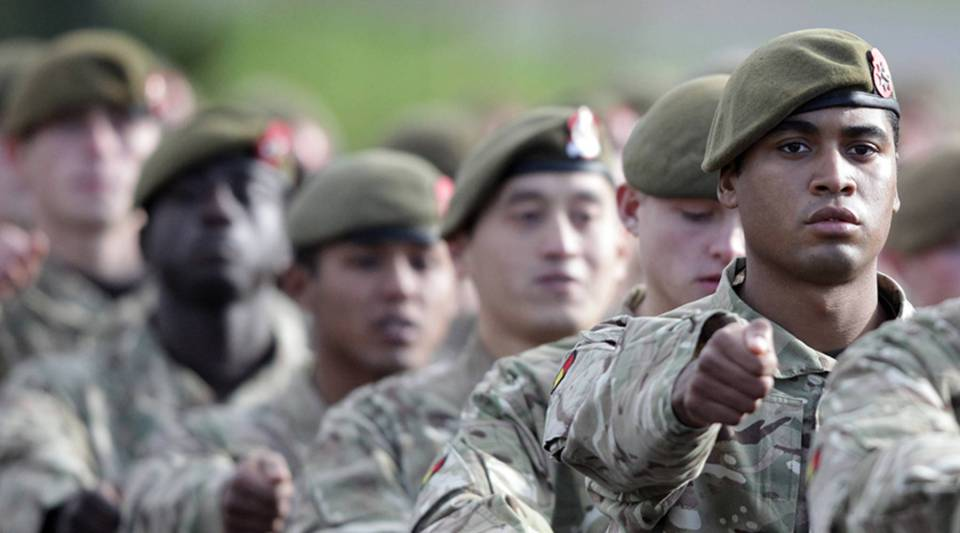 Soldiers from 1st Battalion The Royal Anglian Regiment (The Vikings) march from the parade ground after they received their Afghanistan Operational Service Medals at Picton Barracks on Nov. 1, 2012 in Bulford, England.