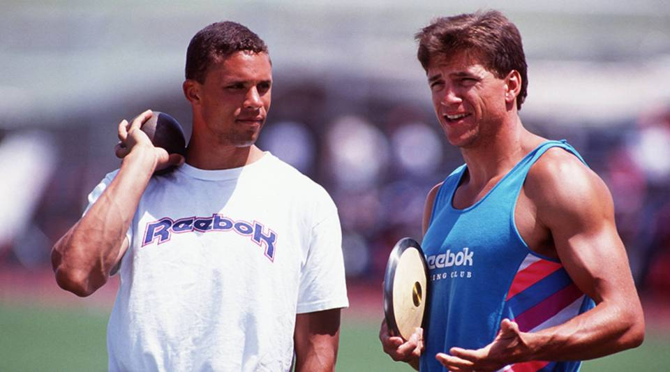U.S. decathletes Dan O'Brien, left, and Dave Johnson at the Modesto Relays in Modesto, California, on May 16, 1992.