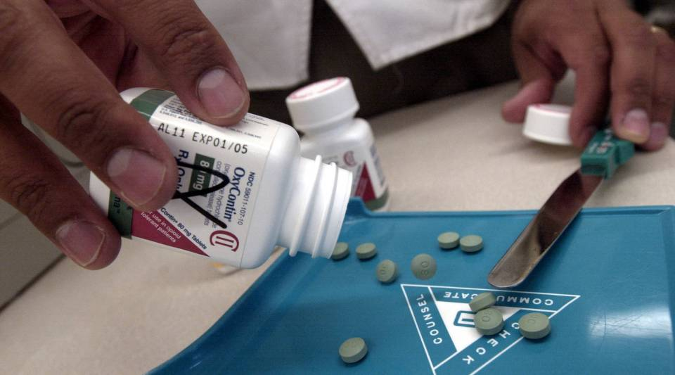 The prescription medicine OxyContin is displayed Aug. 21, 2001 at a Walgreens drugstore.