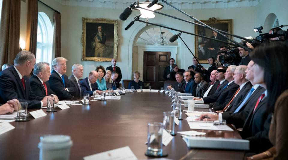 U.S. President Donald Trump speaks to the media during a Cabinet meeting at the White House on December 6, 2017 in Washington, D.C.