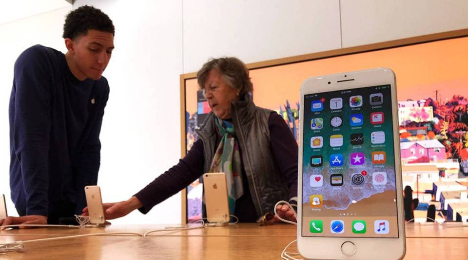 Apple iPhones on display Feb. 1 at a Corte Madera, California, Apple Store.