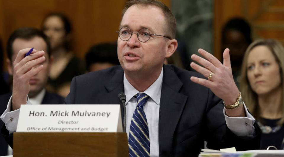 Office of Management and Budget Director Mick Mulvaney testifies before the Senate Budget Committee Tuesday on the 2019 budget proposal released the day before.