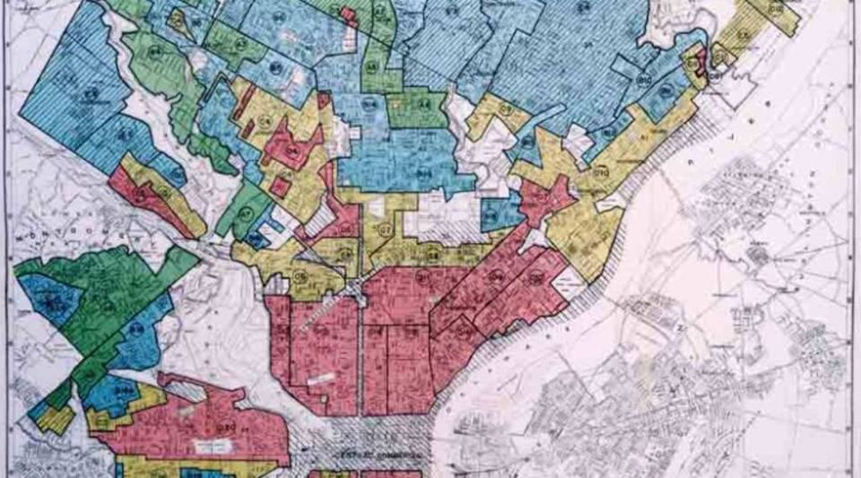 A 1937 map of Philadelphia shows redlining of neighborhoods.