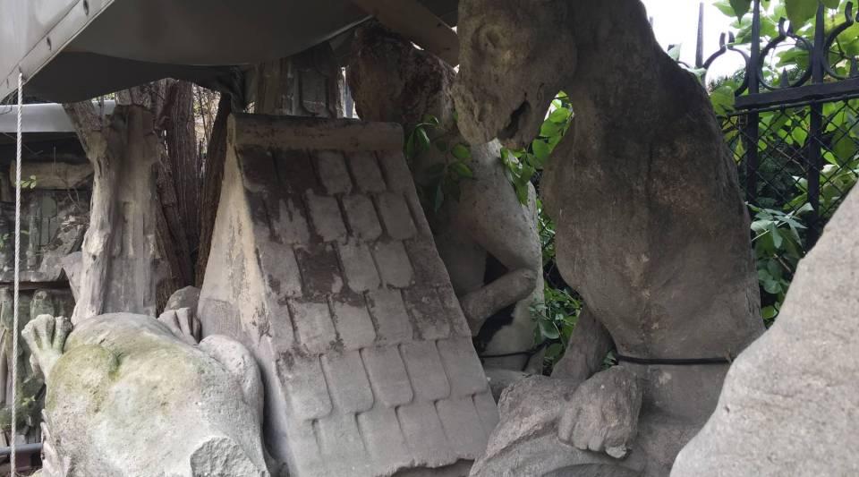 Stonework that has fallen off Notre Dame de Paris Cathedral.