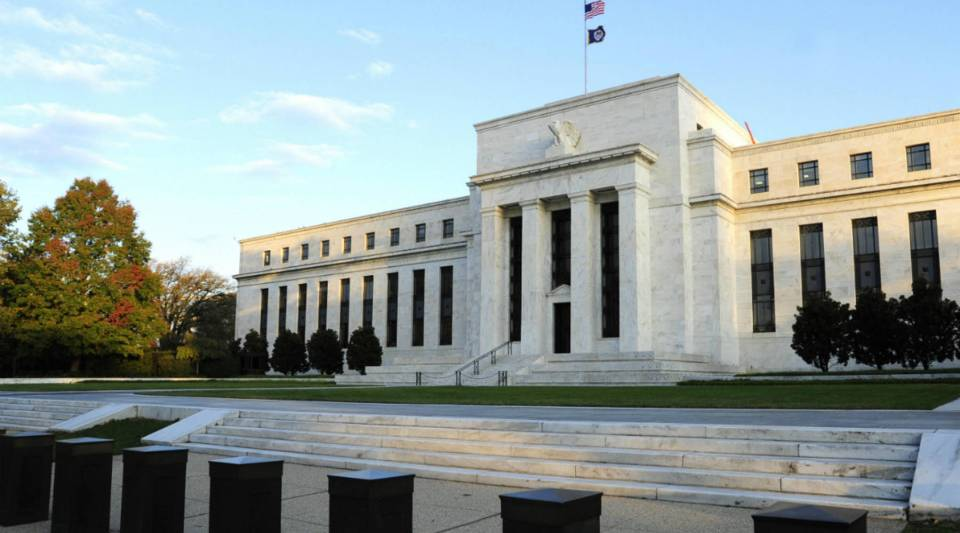 A view of the Federal Reserve building.