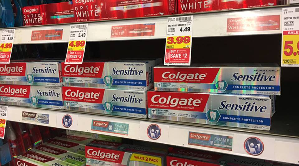 Mint flavored toothpaste at the store.