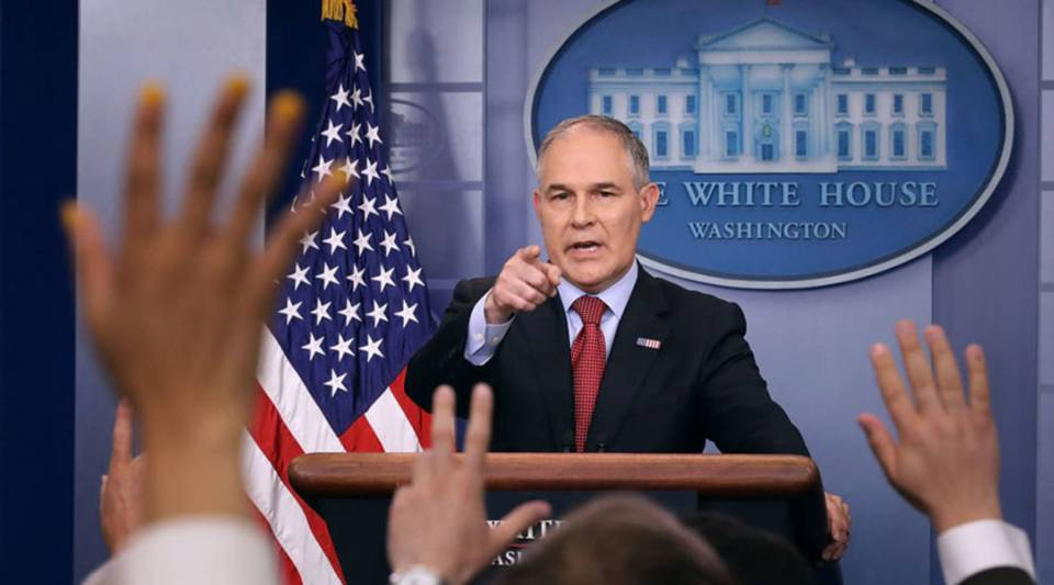 """Data needs to be transparent and objective for the American people to consume,"" says Scott Pruitt, Environmental Protection Agency administrator. Above, Pruitt answers questions at a White House briefing in June."