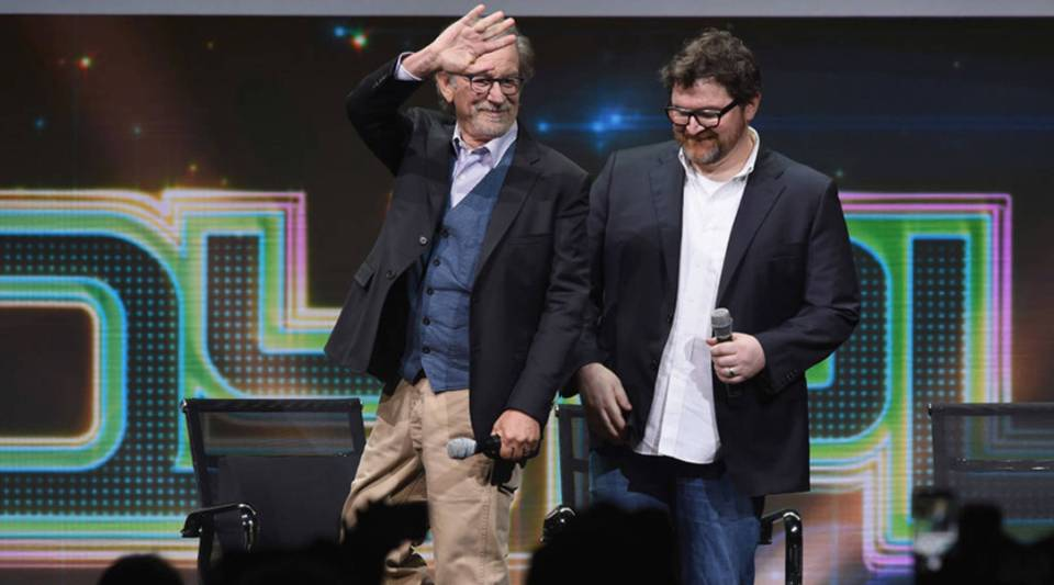 """Director Steven Spielberg, left, and writer Ernest Cline attend the Warner Bros. Pictures """"Ready Player One"""" presentation during Comic-Con International 2017 in San Diego, California."""