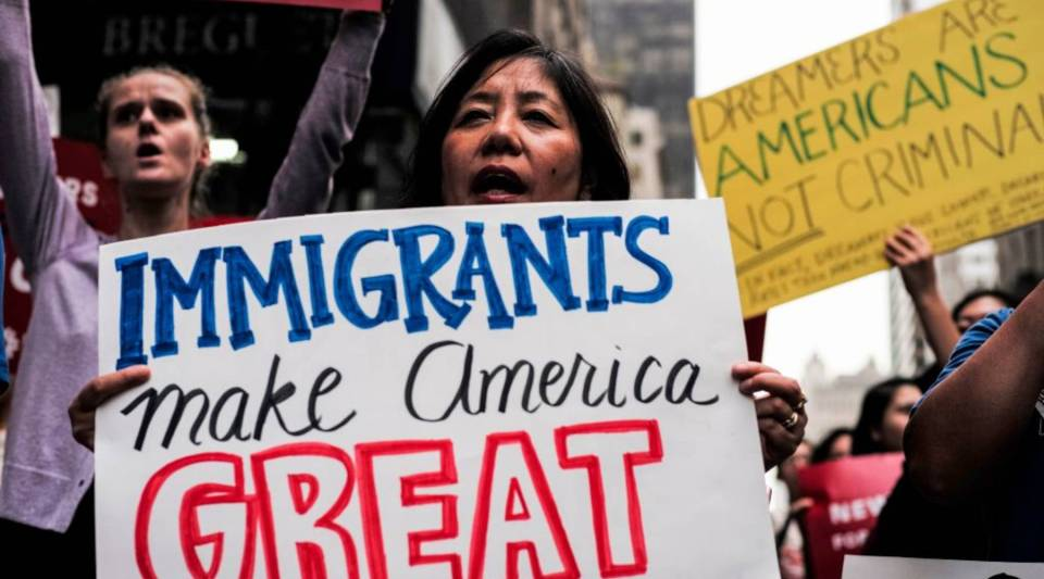 Demonstrators rally in support of the Deferred Action for Childhood Arrivals program near Trump Tower in New York on Oct. 5, 2017.