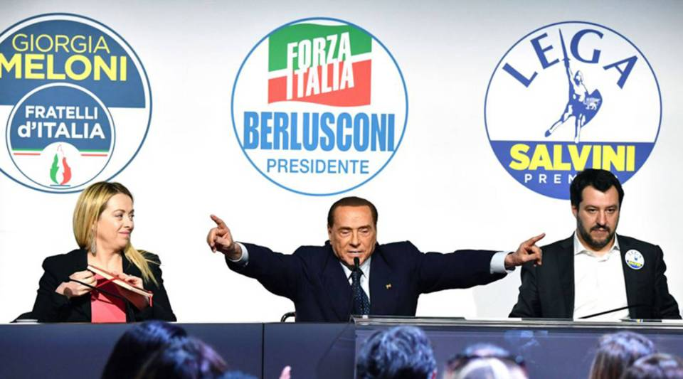 From left, Giorgia Meloni, leader of far-right party Brothers of Italy; Silvio Berlusconi, head of the center-right Forza Italia; and Matteo Salvini, leader of far-right party the League, give a joint press conference in Rome today ahead of the March 4 general election.
