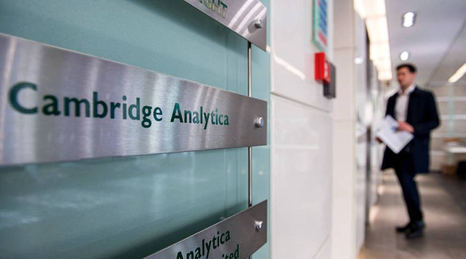 Signs for company Cambridge Analytica in the lobby of the building in which they are based on March 21, 2018 in London, England.