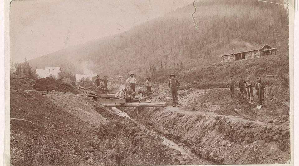 Gold miners pose near their camp on a hillside in El Dorado, California circa 1848 to 1853.
