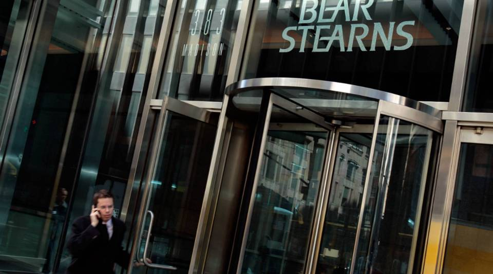 A man walks out of Bear Stearns headquarters on March 24, 2008 in New York City.