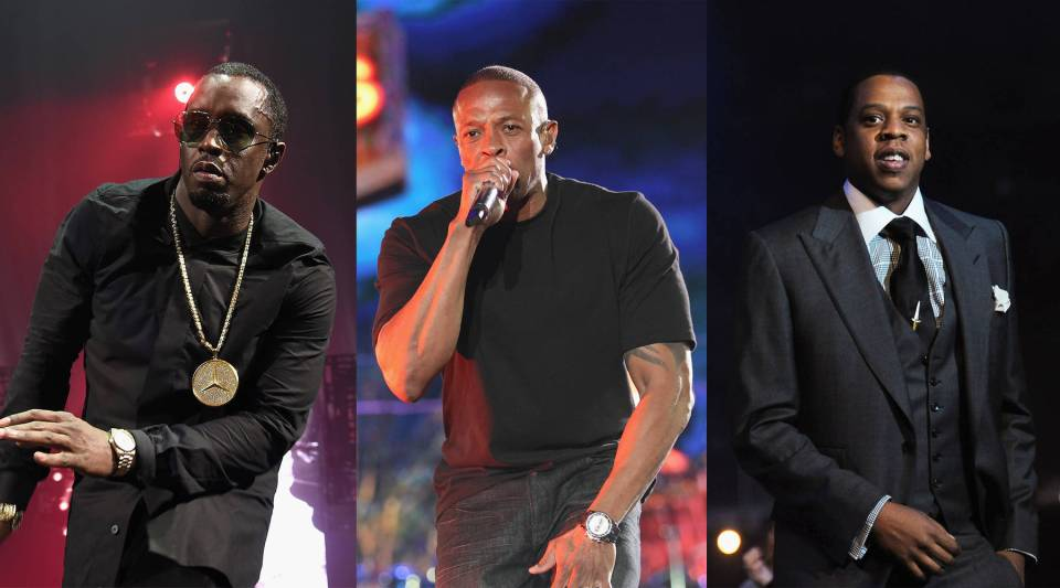 Diddy, Dr. Dre and Jay-Z (L-R) used to compete in the rap wars of the '90s. Now, their companies are rivals.