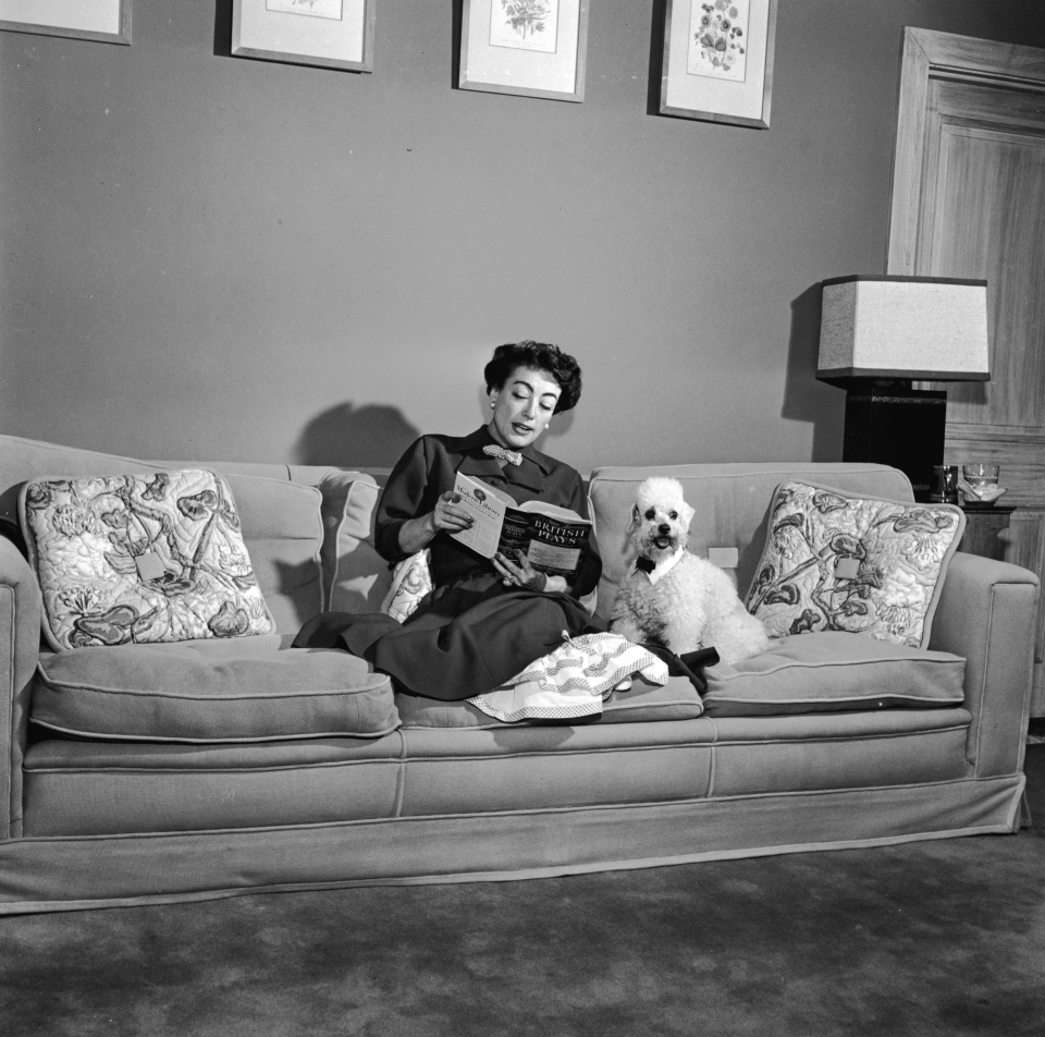 American actor Joan Crawford (1904 - 1977) sits on a sofa, reading a book with her pet poodle, 1940s.