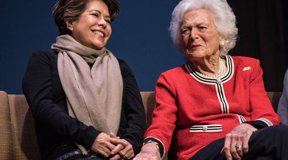 Jeb Bush's wife Columba Bush, left, and former first lady Barbara Bush share a moment in 2016, during at an event for Jed Bush's presidential campaign.