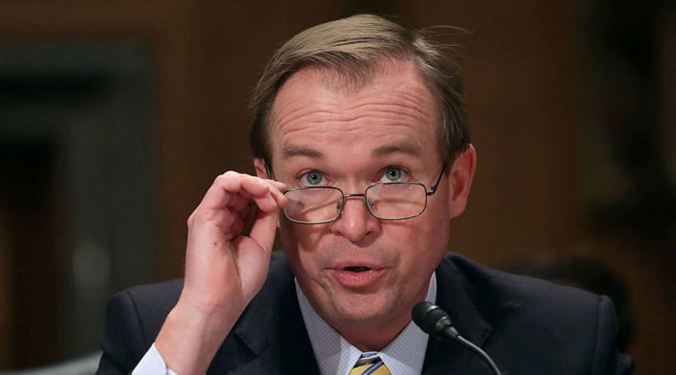 Then Rep. Mick Mulvaney (R-SC) testifies before the Senate Homeland Security and Governmental Affairs Committee during his confirmation hearing to be the next director of the Office of Management and Budget on Jan. 24, 2017 in Washington, DC.