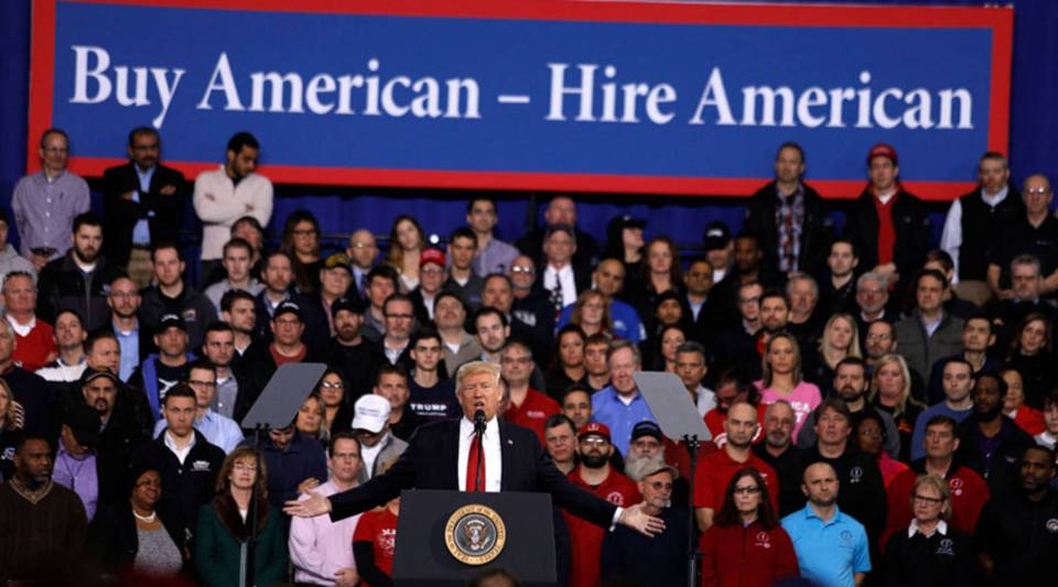 U.S. President Donald Trump speaks to auto workers at the American Center for Mobility March 15, 2017, in Ypsilanti, Michigan.