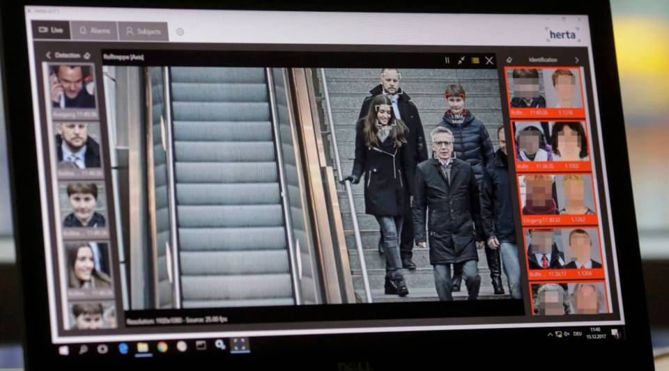 Automatic facial recognition technologies are tested at the Suedkreuz train station in Berlin in December.