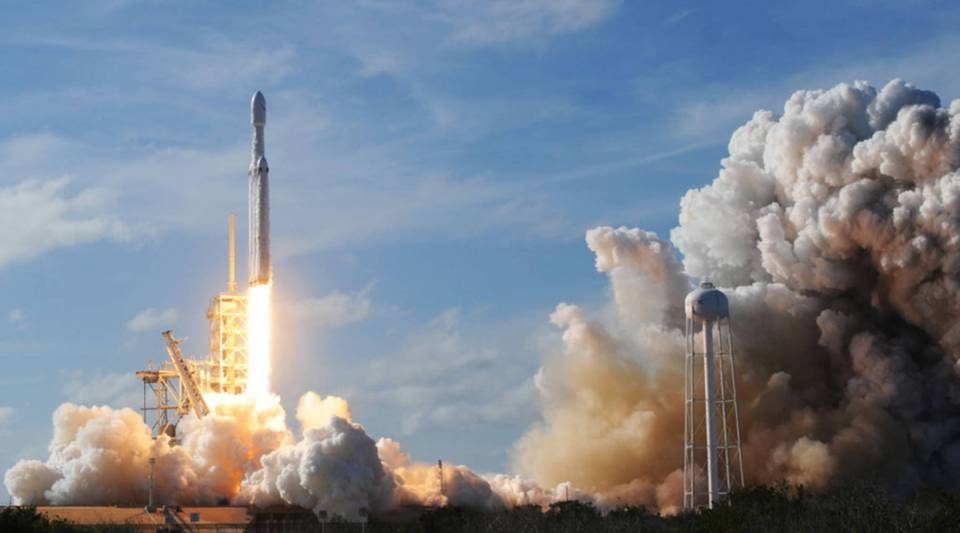 The SpaceX Falcon Heavy launches from Pad 39A at the Kennedy Space Center in Florida, on Feb. 6, 2018, on its demonstration mission.