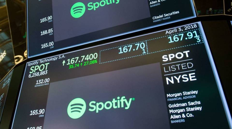 The opening numbers are displayed on the floor during the Spotify IPO at the Dow Industrial Average at the New York Stock Exchange on April 3, 2018 in New York.