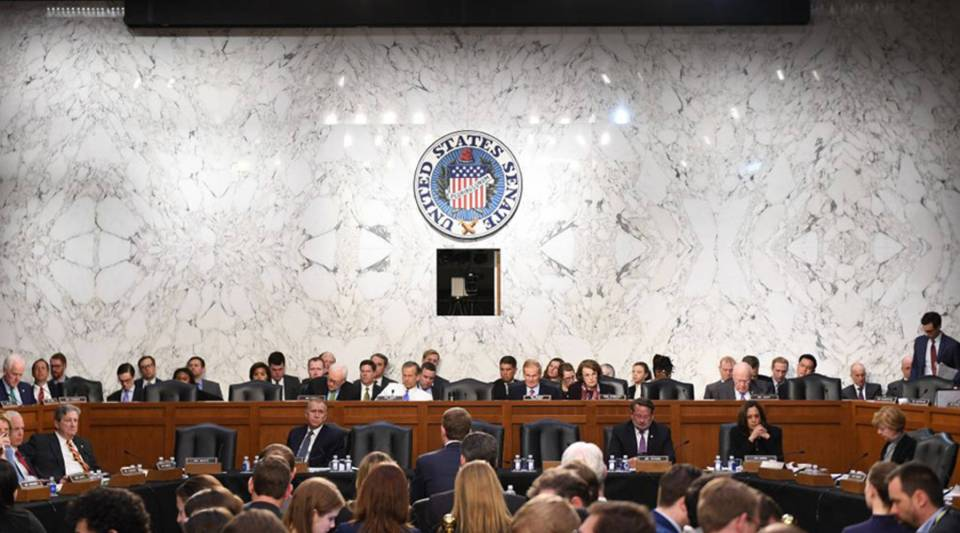 Facebook founder and CEO Mark Zuckerberg testifies at a joint hearing of the Senate Committee on Commerce, Science and Transportation and Senate Judiciary Committee  about Facebook on Capitol Hill in Washington, D.C., on April 10.