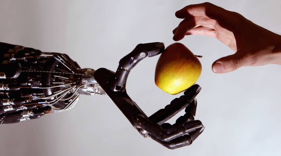 The Shadow Robot company's dextrous hand robot holds an Apple at the Streetwise Robots event held at the Science Museum's Dana Centre on May 6, 2008 in London, England.