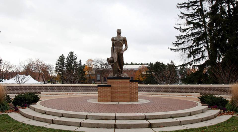 Moody's downgraded Michigan State University's credit rating earlier this month. Above, the Spartan statue at MSU.