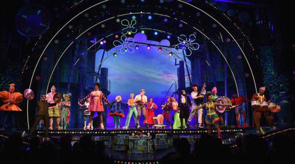 """The cast poses onstage during opening night of Nickelodeon's """"SpongeBob SquarePants: The Broadway Musical"""" at Palace Theatre on December 4, 2017 in New York City."""