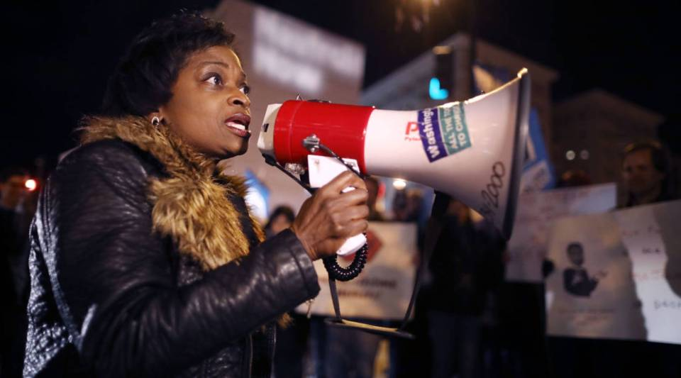 Federal Communications Commission Commissioner Mignon Clyburn uses a megaphone to address demonstrators outside of the 31st Annual Chairman's Dinner to show their support for net neutrality on December 7, 2017. The protesters gathered in opposition to FCC Chairman Ajit Pai's plans to scrap Obama-era net neutrality protections.