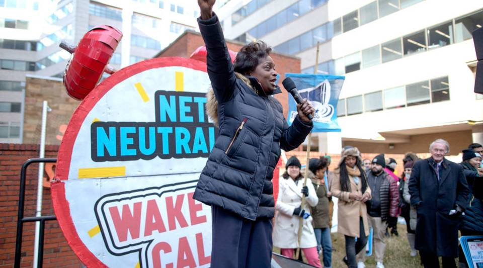 Federal Communication Commission Commissioner Mignon Clyburn addresses protesters outside the Federal Communication Commission building to rally against the end of net neutrality rules December 14, 2017 in Washington, DC.