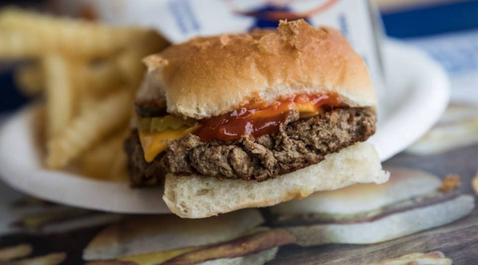 A meatless 'Impossible Slider' at a White Castle restaurant in the Queens borough of New York City.