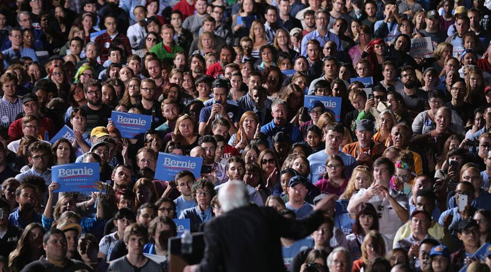 Thousands of people gather to hear Sen. Bernie Sanders (I-VT) during a presidential campaign rally at the Prince William County Fairground back in 2015 in Manassas, Virginia.