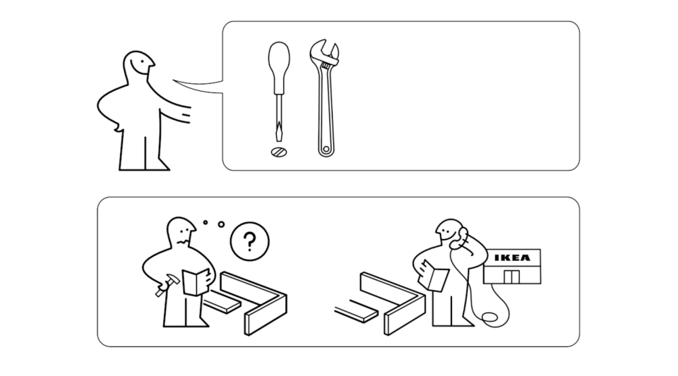 A view of one of Ikea's instruction manuals.