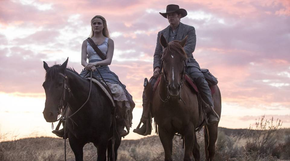 "Evan Rachel Wood, left, and James Marsden in season 2 of ""Westworld."""