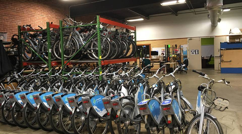 Bikes at The Healthy Ride office in Pittsburgh, PA.