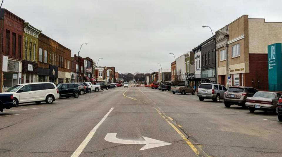 Shops and restaurants line one of Concordia's main streets in downtown.