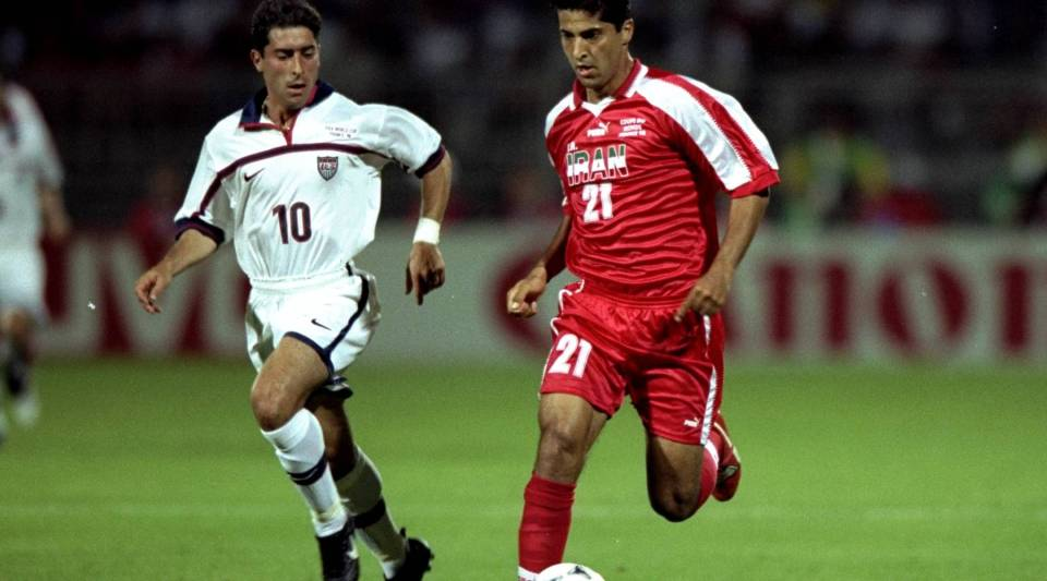 Mehrdad Minavand of Iran in action during the 1998 World Cup first round match against the USA at the Stade Gerland in Lyon, France. Iran won the match 2-1.