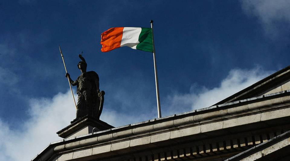The Irish tricolour flies over the General Post Office in Dublin.