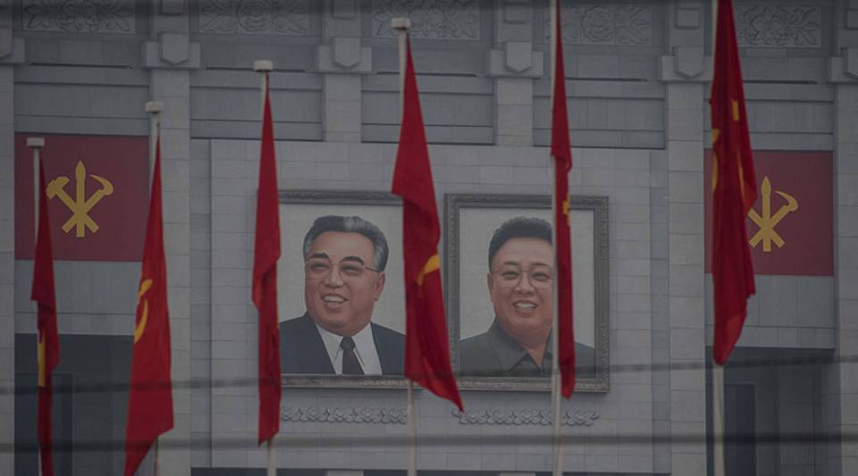 Portraits of late North Korean leaders Kim Il Sung, left, and Kim Jong Il on the April 25 Palace, the venue of the 7th Workers Party Congress in Pyongyang in 2016.