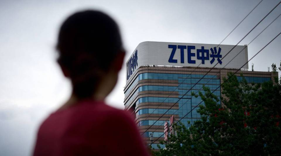 The ZTE logo is seen on a building in Beijing on May 2, 2018.