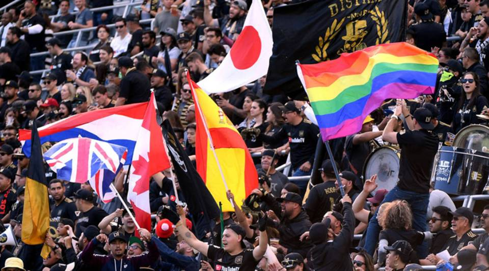 Fans fly the rainbow flag before the game between New York City and Los Angeles FC at Banc of California Stadium on May 13, 2018 in Los Angeles, California.