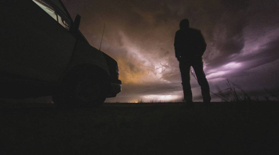 Guests watch a severe thunderstorm in northwest Nebraska.
